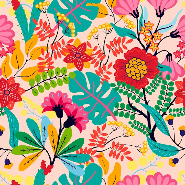 Exotische bladeren en bloemenpatroon Gratis Vector