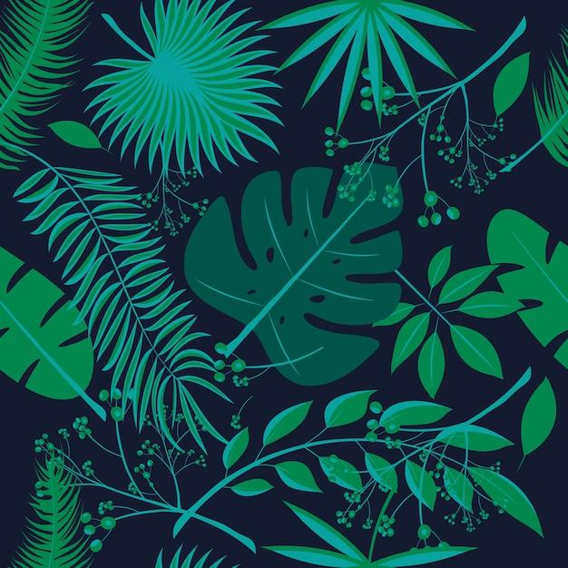 Exotische bladeren, regenwoud. naadloos realistisch tropisch bladpatroon Premium Vector