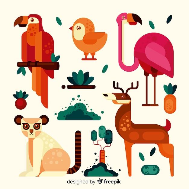 Exotische dierencollectie vlakke stijl Gratis Vector