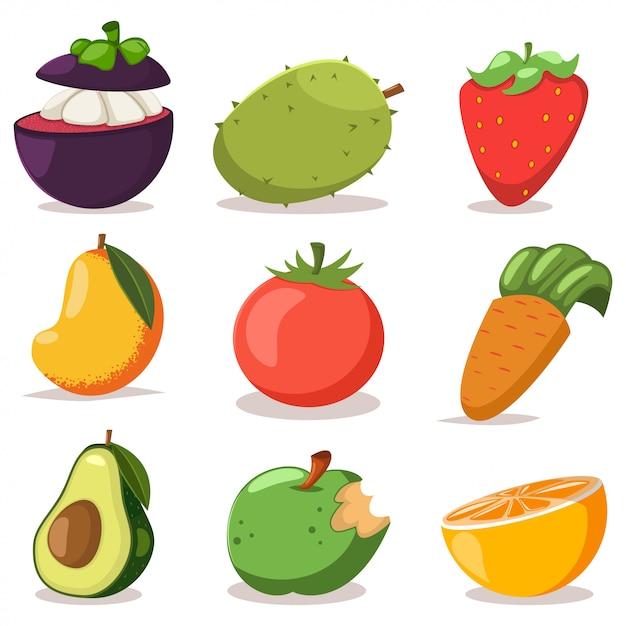 Exotische groenten en fruit cartoon plat pictogrammen instellen geïsoleerd op wit. Premium Vector