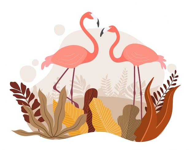 Exotische roze flamingo met palmbladeren voor de zomer Premium Vector