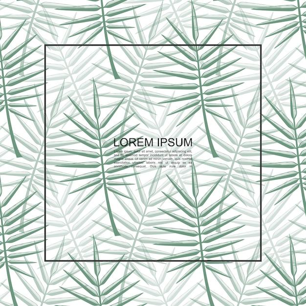 Exotische tropische bloemen botanische sjabloon met frame voor tekst en groene palmbladeren vectorillustratie Gratis Vector