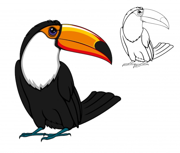 Exotische tropische toekanvogel, cartoon dier Premium Vector