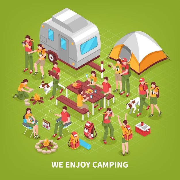 Expeditie camping isometrische illustratie Gratis Vector