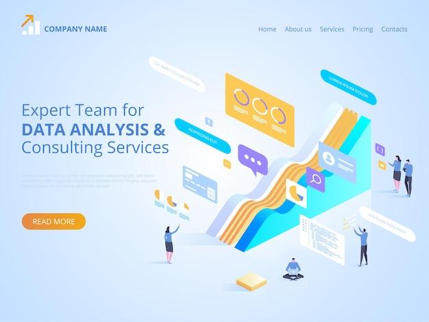 Expertteam voor gegevensanalyse en adviesdiensten. isometrische illustratie voor bestemmingspagina, webdesign, banner en presentatie. Premium Vector