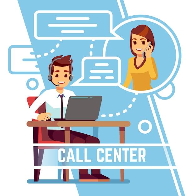 Exploitantmens die met gelukkige glimlachende cliënt op telefoon spreken. supporter in headset consulting klant. cartoon vectorillustratie Premium Vector