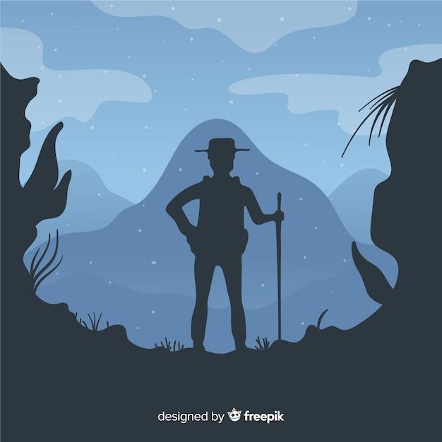 Explorer met rugzak achtergrond Gratis Vector
