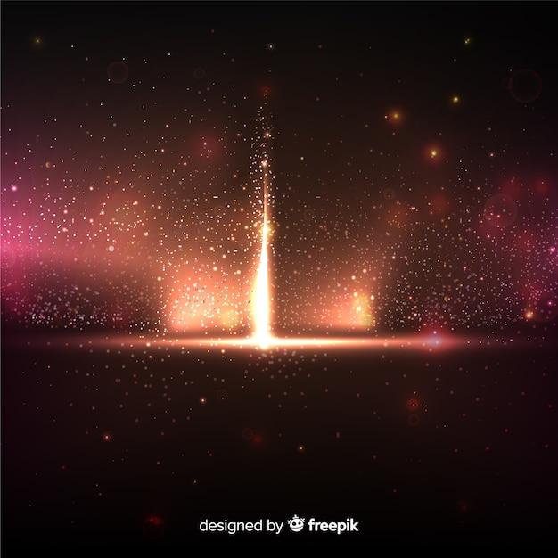 Explosie deeltje effect op zwarte achtergrond Gratis Vector