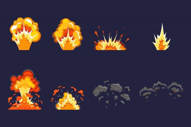 Explosie-effect met rook, vlammen en deeltjes. dynamiet explosie, atoombom, rook na de explosie. cartoon bomexplosie. Premium Vector
