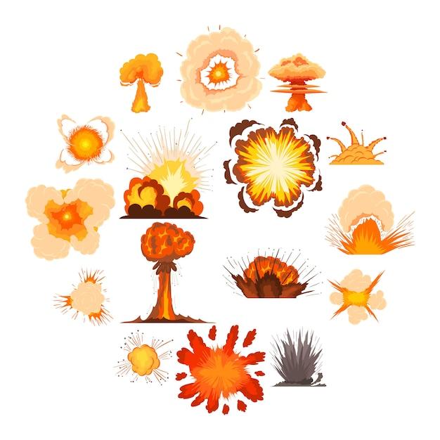 Explosie effect pictogrammen instellen, cartoon stijl Premium Vector