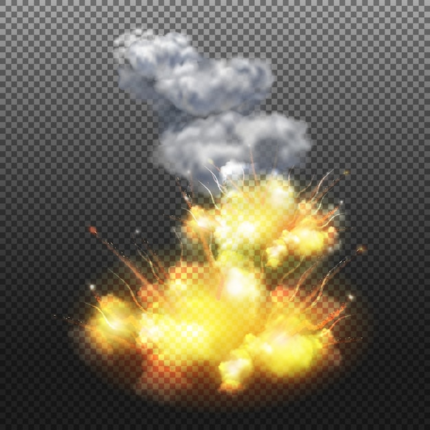 Explosie geïsoleerde samenstelling Gratis Vector