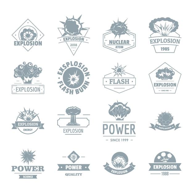 Explosie macht logo pictogrammen instellen Premium Vector