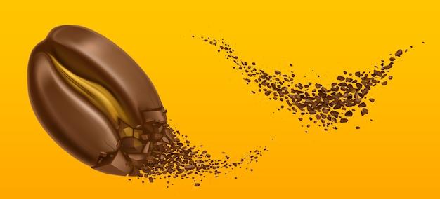 Explosie van koffiebonen en gemalen arabicakorrels. Gratis Vector