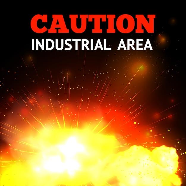 Explosieachtergrond met realistische brand en voorzichtigheidsindustrieterreintekst Gratis Vector