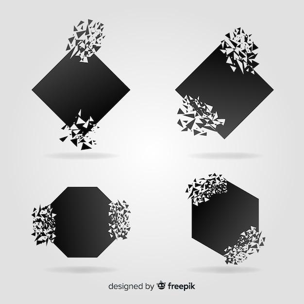 Explosiebannerverzameling Gratis Vector