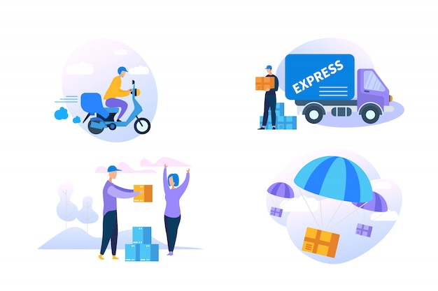 Express delivery icon set op witte achtergrond. Premium Vector