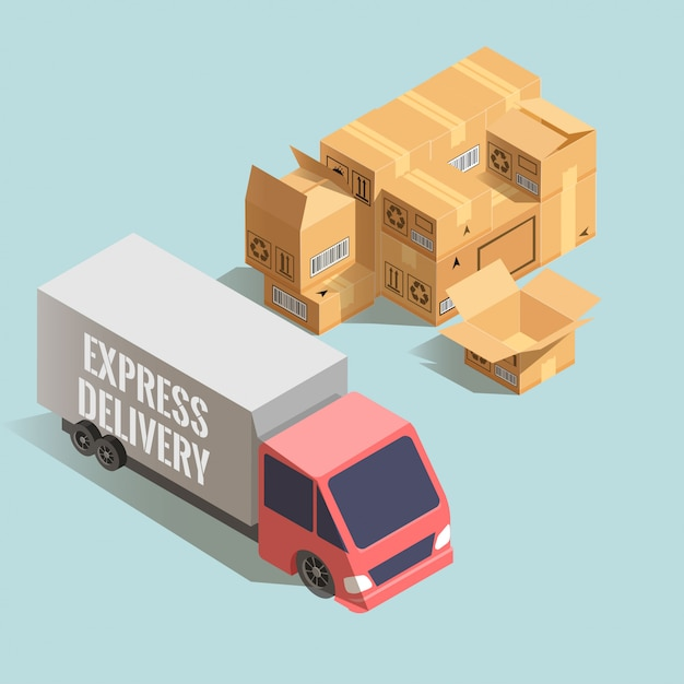 Express levering. grote vrachtwagen met stapel kartonnen dozen. Premium Vector
