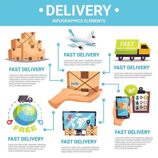 Express levering infographic Gratis Vector