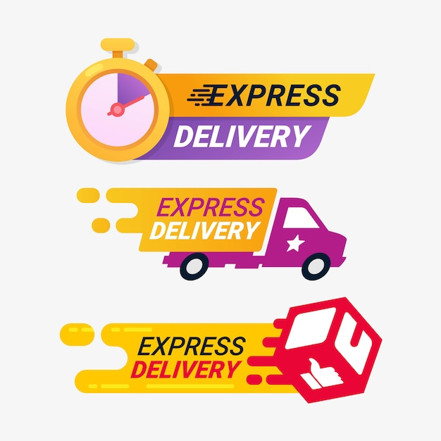 Express levering service logo badge Premium Vector