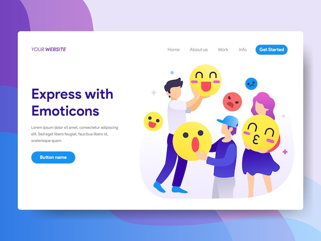 Express met emoticons illustratie op homepage Premium Vector