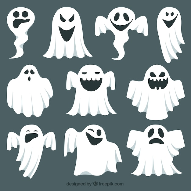Expressieve ghost collectie Gratis Vector