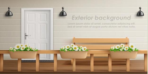Exterieur achtergrond met veranda gevel. leeg terras met houten omheining en bloemen in potten Gratis Vector