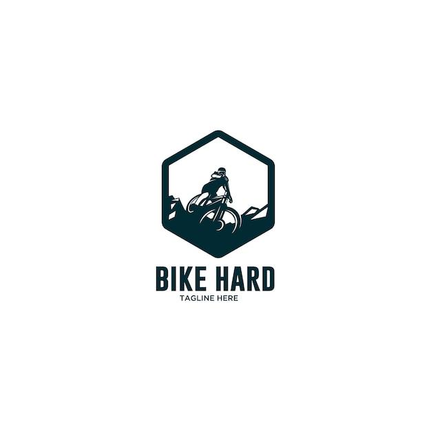 Extreem fietsen bergaf logo Premium Vector