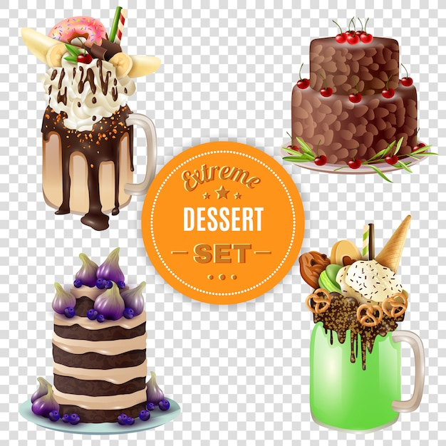 Extreme dessert combo's transparante set Gratis Vector