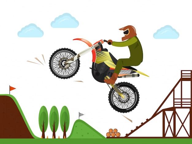 Extreme motorcross ruiter springen poster Premium Vector