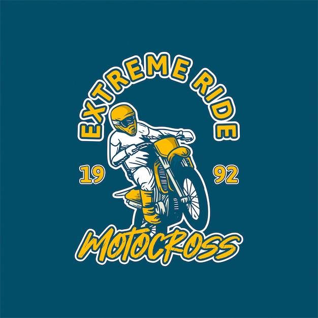 Extreme rit motorcross illustratie Premium Vector