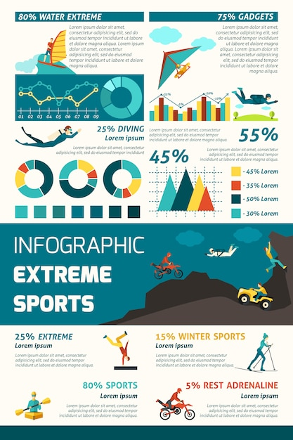 Extreme sporten infographics Gratis Vector