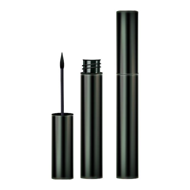 Eyelinerborstel en containers Premium Vector