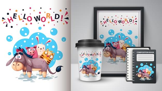 Ezel, varken, konijn, tijger illustratie Premium Vector