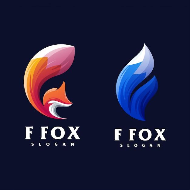 F fox-logo ontwerp Premium Vector