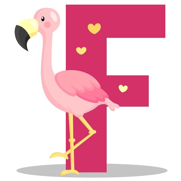 F voor flamingo Premium Vector