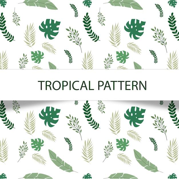 Fabelachtig tropisch patroon met groene installaties op witte achtergrond Gratis Vector