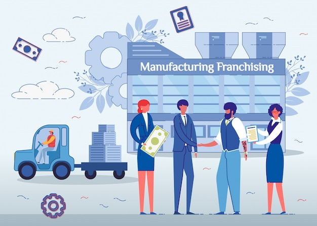Fabricage van franchising, mannen handen schudden. Premium Vector