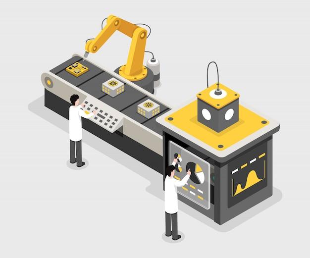 Fabricageproces, werknemers van dataverzamelfaciliteit. ingenieurs monitoring proces Premium Vector