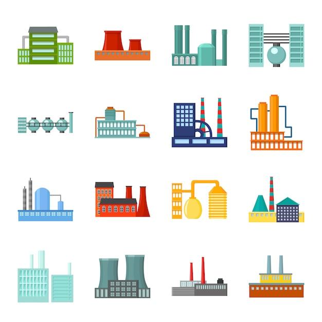 Fabriek cartoon vector icon set. vector illustratie van de bouw van de fabriek. Premium Vector