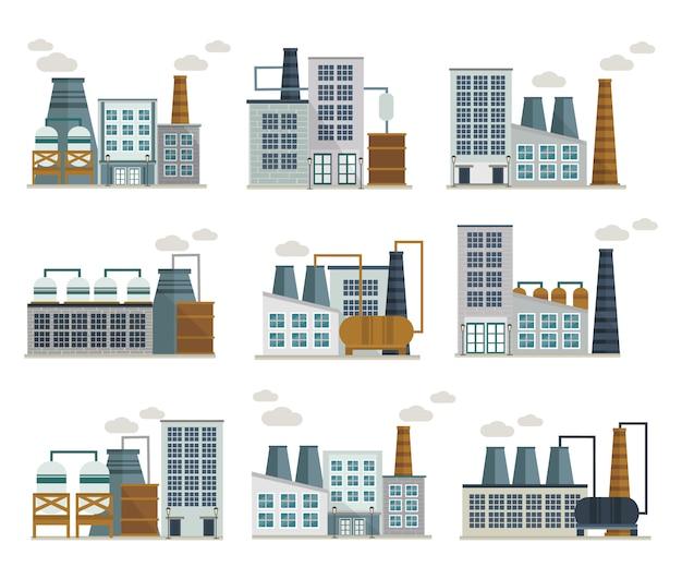 Fabriek decoratieve plat pictogrammen instellen Gratis Vector