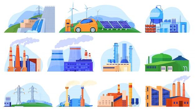 Fabriek elektrische centrales set van industriële constructies, stedelijke omgeving, productie stations illustratie. Premium Vector