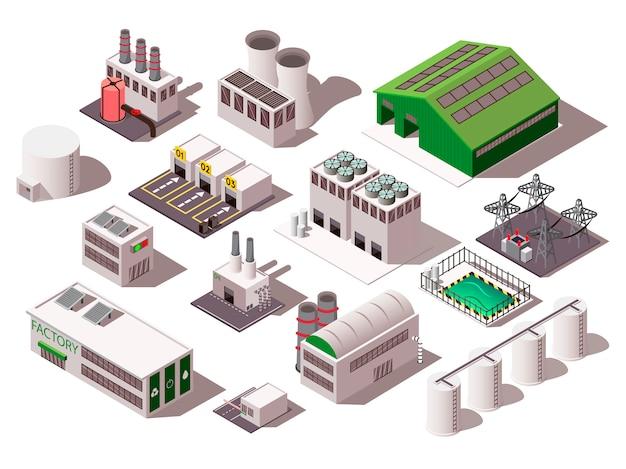 Fabriek isometrische set Gratis Vector