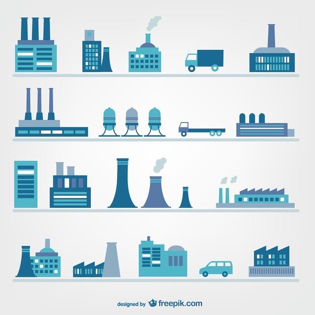 Fabrieken en industrie iconen Gratis Vector