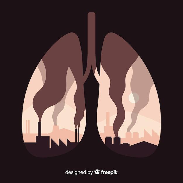 Fabrieken en rookt in de longen Gratis Vector