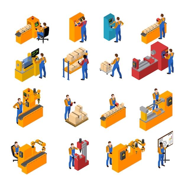 Fabrieksarbeiders icons set Gratis Vector