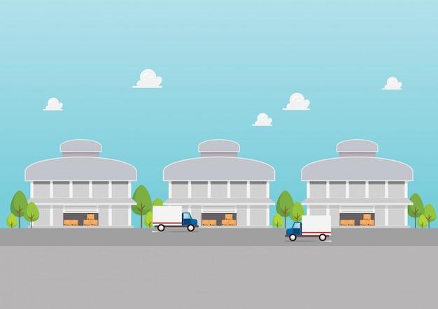Fabrieksgebouw magazijnen industriezone Premium Vector