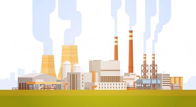 Fabrieksgebouw natuurverontreiniging plant pijpafvalbanner Premium Vector