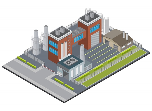 Fabrieksinfrastructuur isometrisch met de schoorsteengarage van ingangs industriële gebouwen op het schermen van 3d grondgebied Gratis Vector