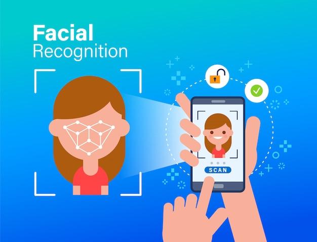Face id, gezichtsherkenning, biometrische identificatie, persoonlijke verificatie. mobiele app voor gezichtsherkenning. een smartphone gebruiken om het gezicht van een persoon te scannen. vlakke stijl concept illustratie. Premium Vector