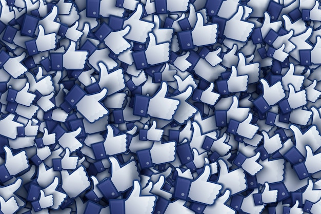 Facebook 3d zoals hand icons art illustration Premium Vector